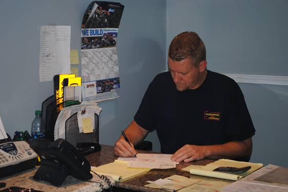Manager working on paperwork